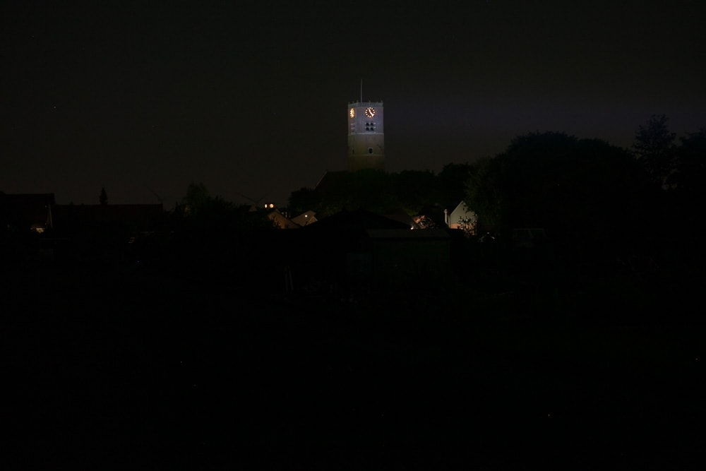 beamshots at night with tower