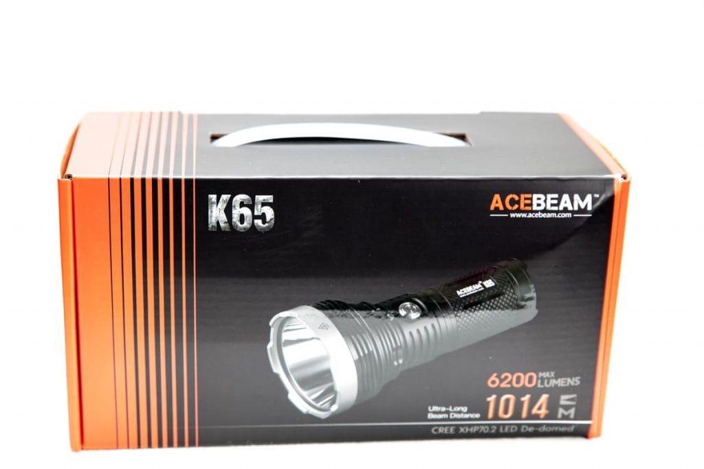 cardboard box of the acebeam led flashlight