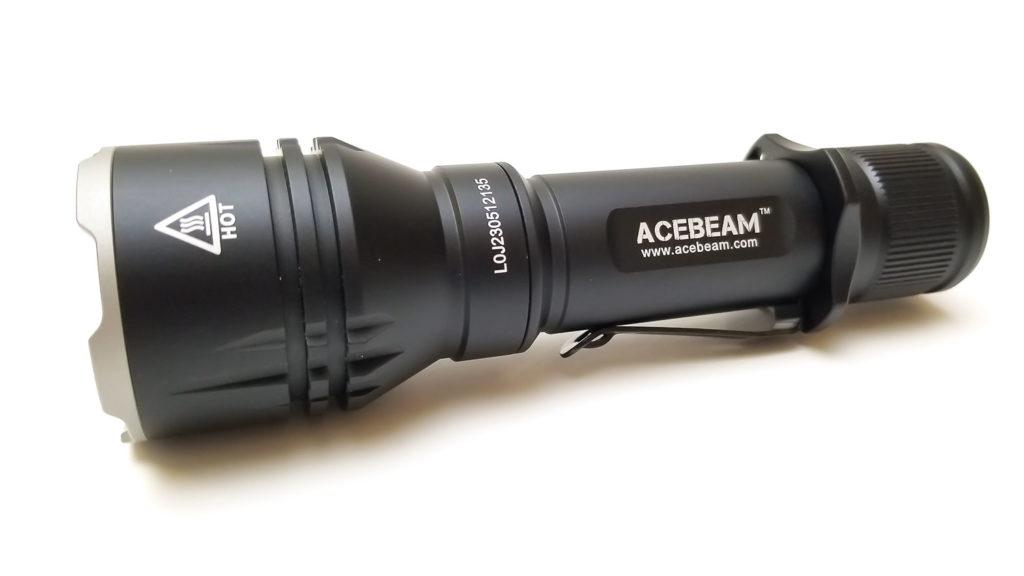 side view of black flashlight