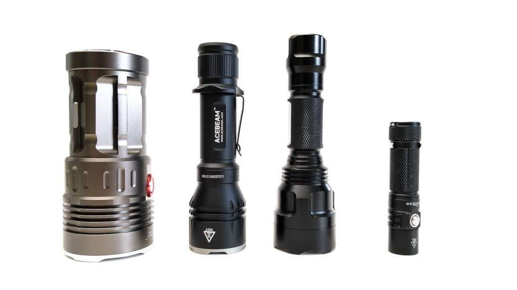 4 flashlights in a row