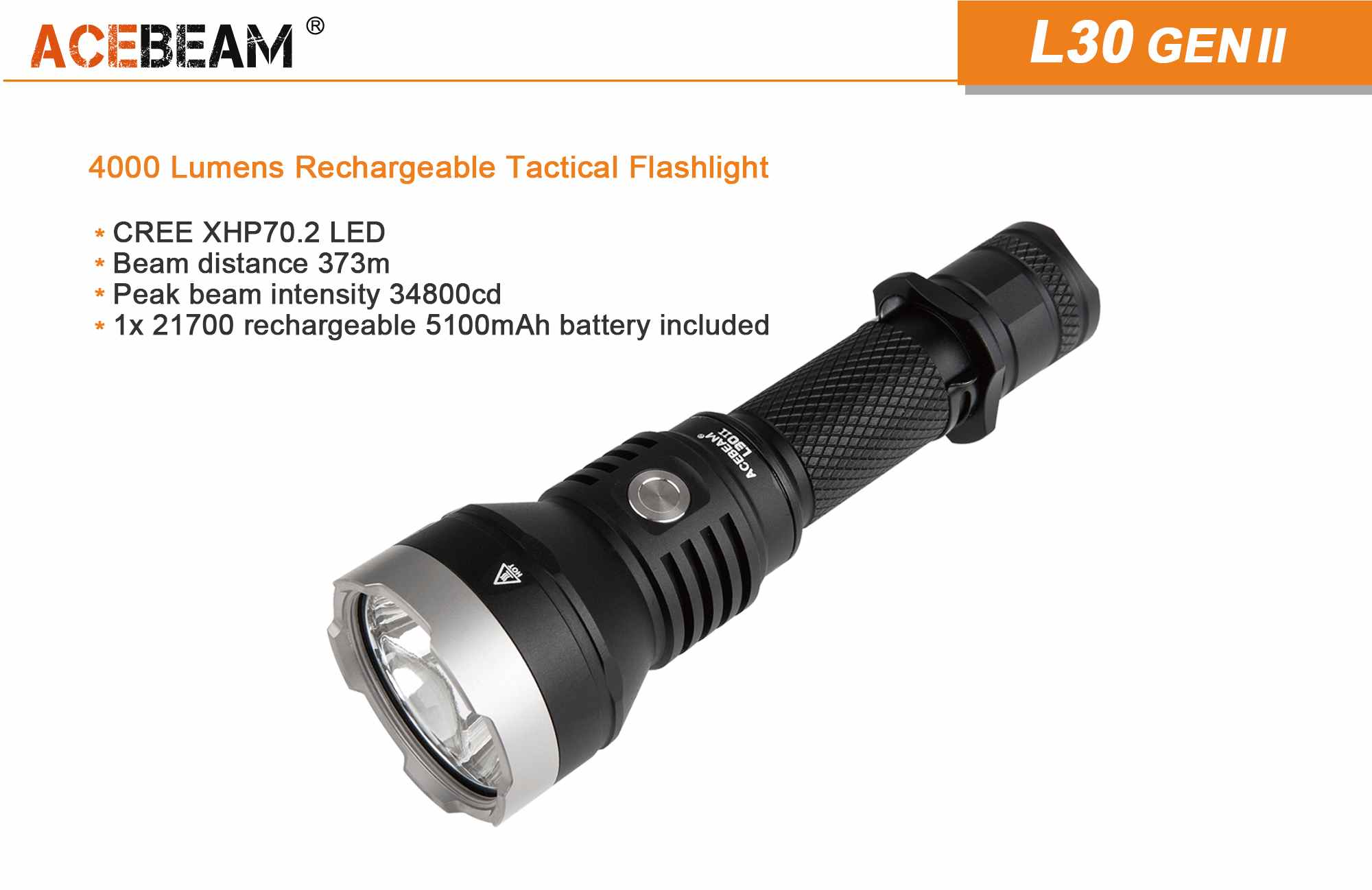 Acebeam L30 powerful tactical flashlight