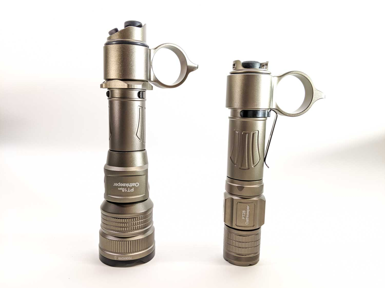 2 tan colored flashlights