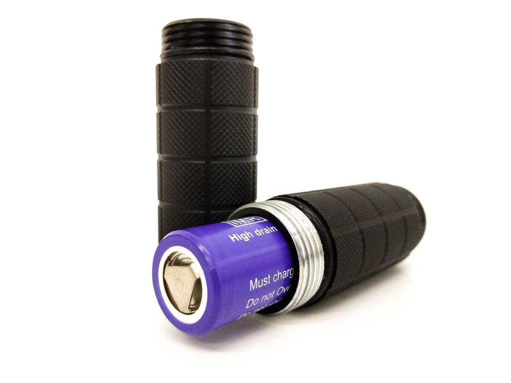 battery inside flashlight body tube