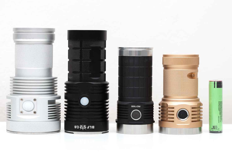 4 flashlights on a row