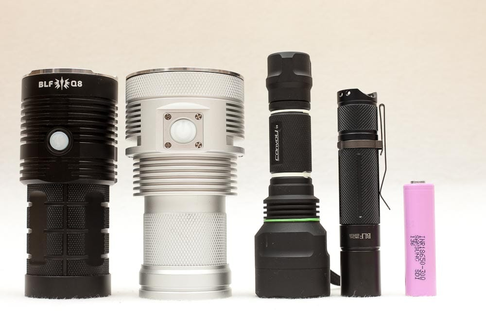 size comparion haikelite MT03 TA with BLF Q8, Convoy and BLF A6