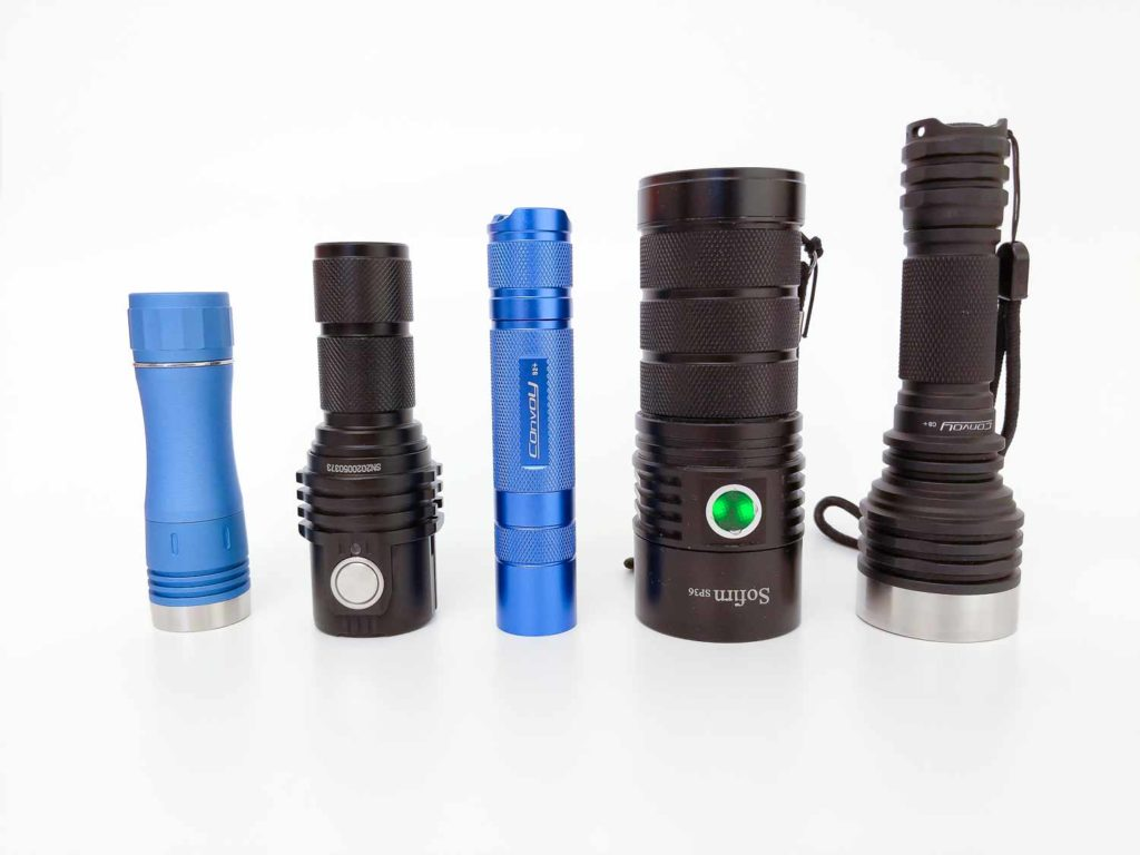 5 flashlight sizes