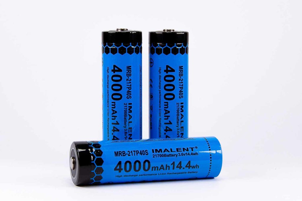 3 blue rechargeable lithium ion batteries
