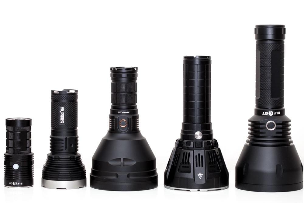 5 big flashlights side by side