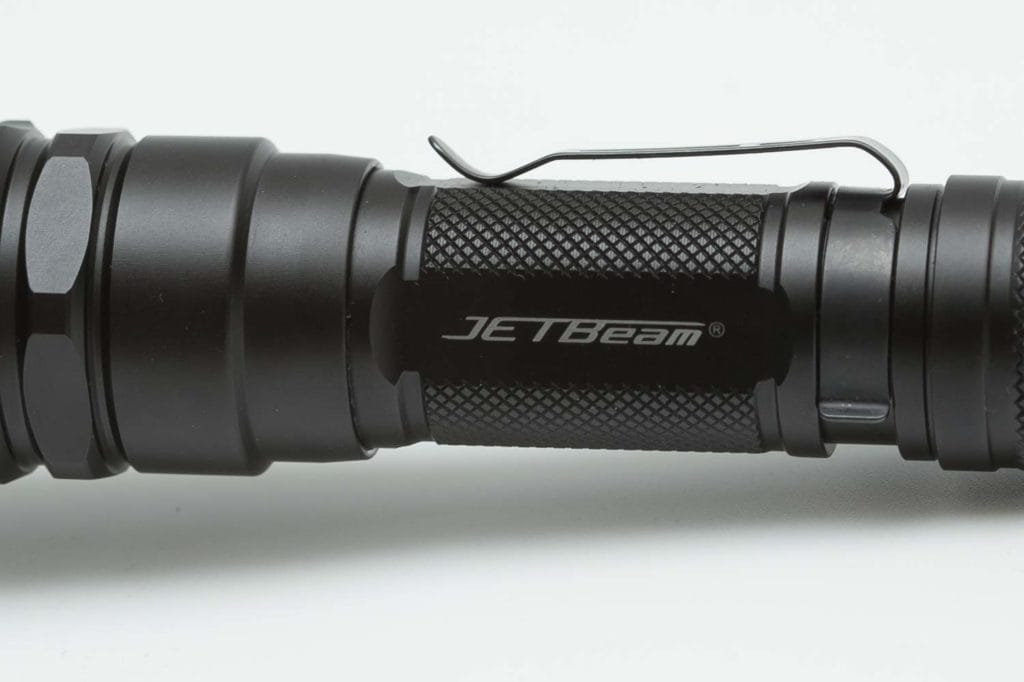jetbeam logo on flashlight