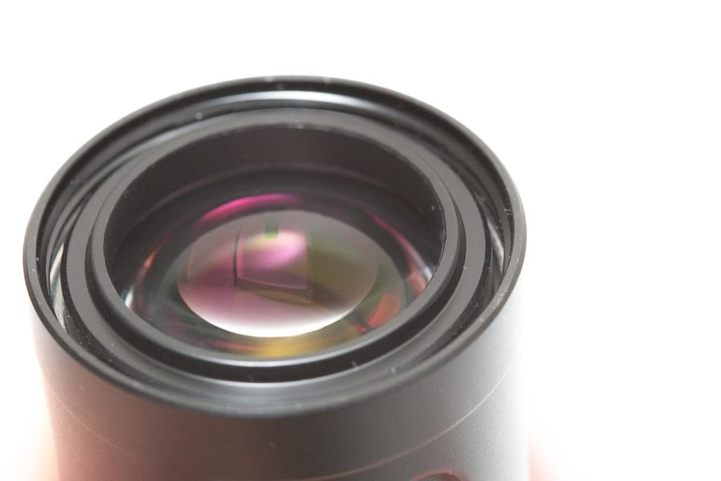 close up of front lens of flashlight