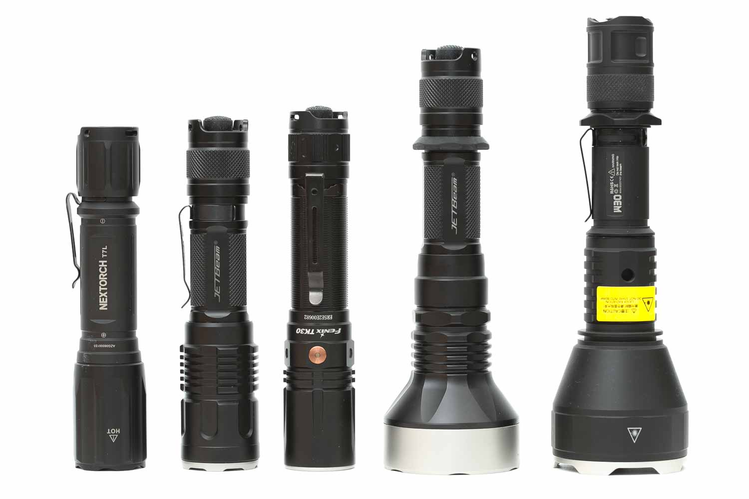 5 flashlights standing