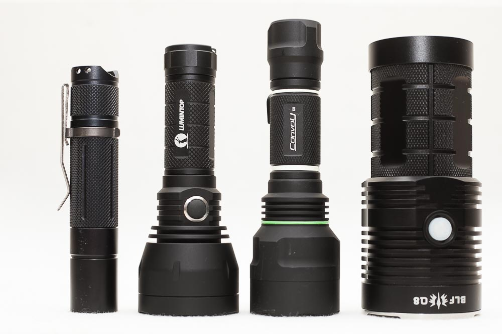 comparison BLF GT mini with Convoy C8, BLF A6 and BLF Q8