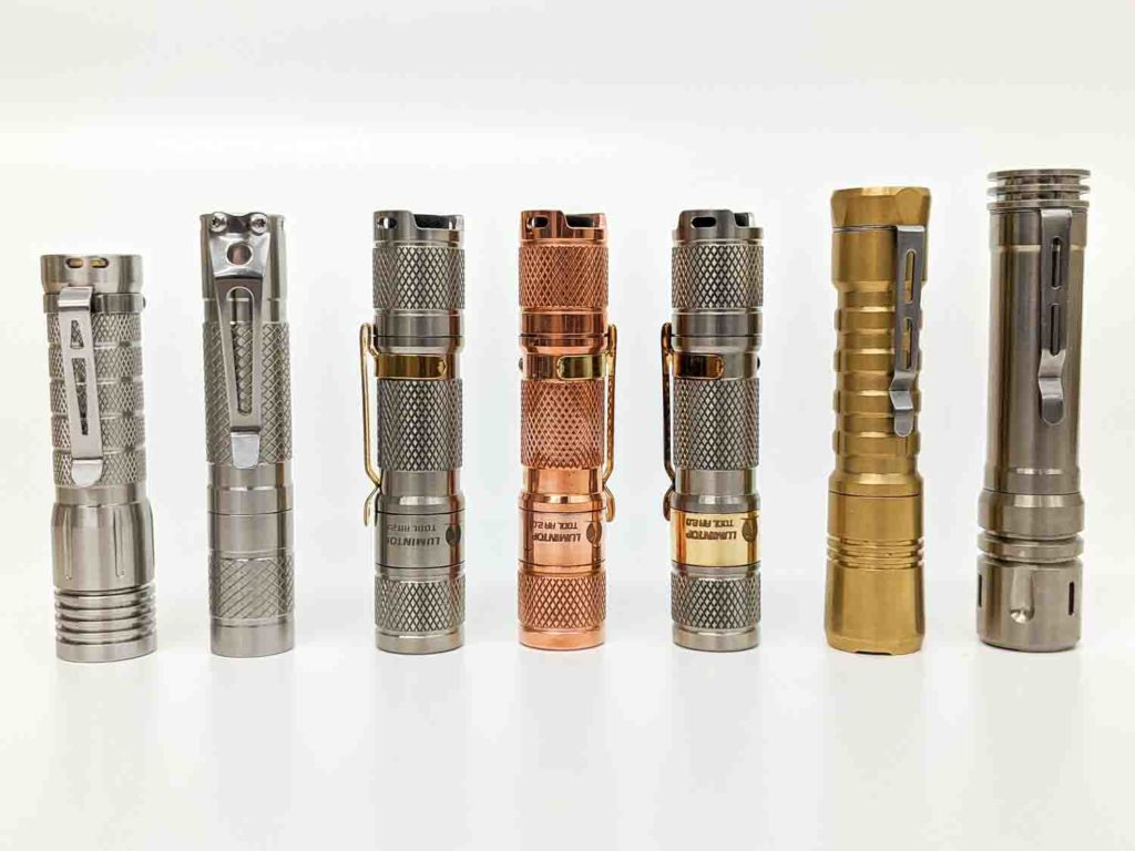 7 AA flashlights with silver and copper colors