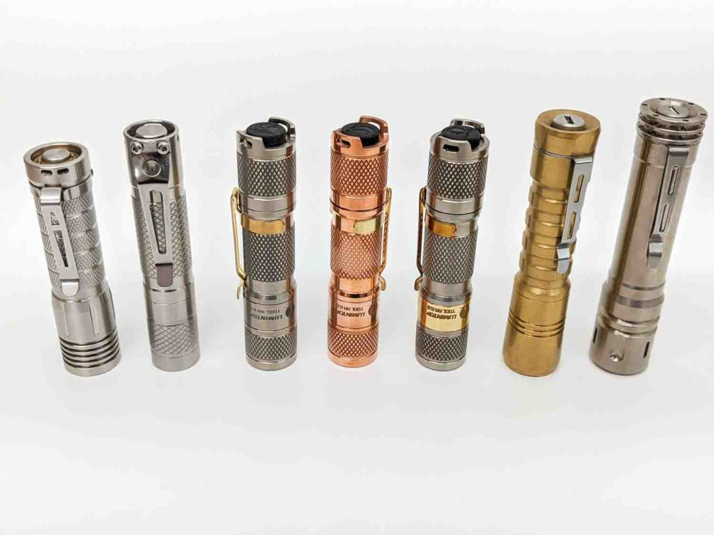 7 AA flashlights on a row