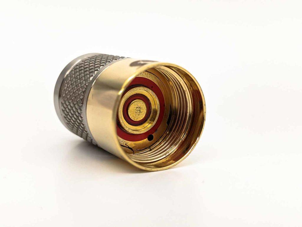 copper part of the titanium Tool 2.0 AA flashlight