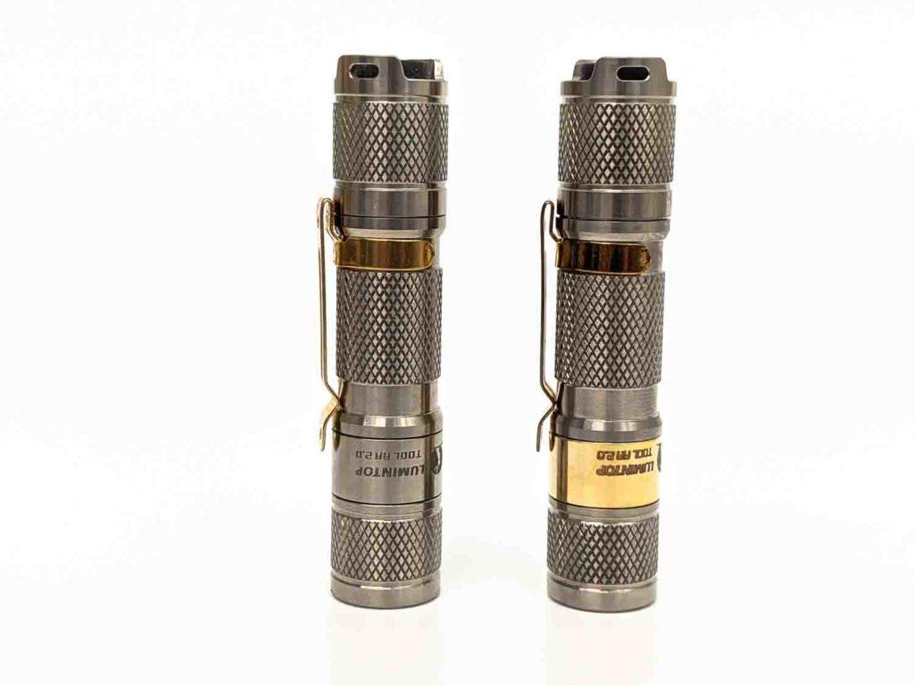 2 titanium flashlights standing