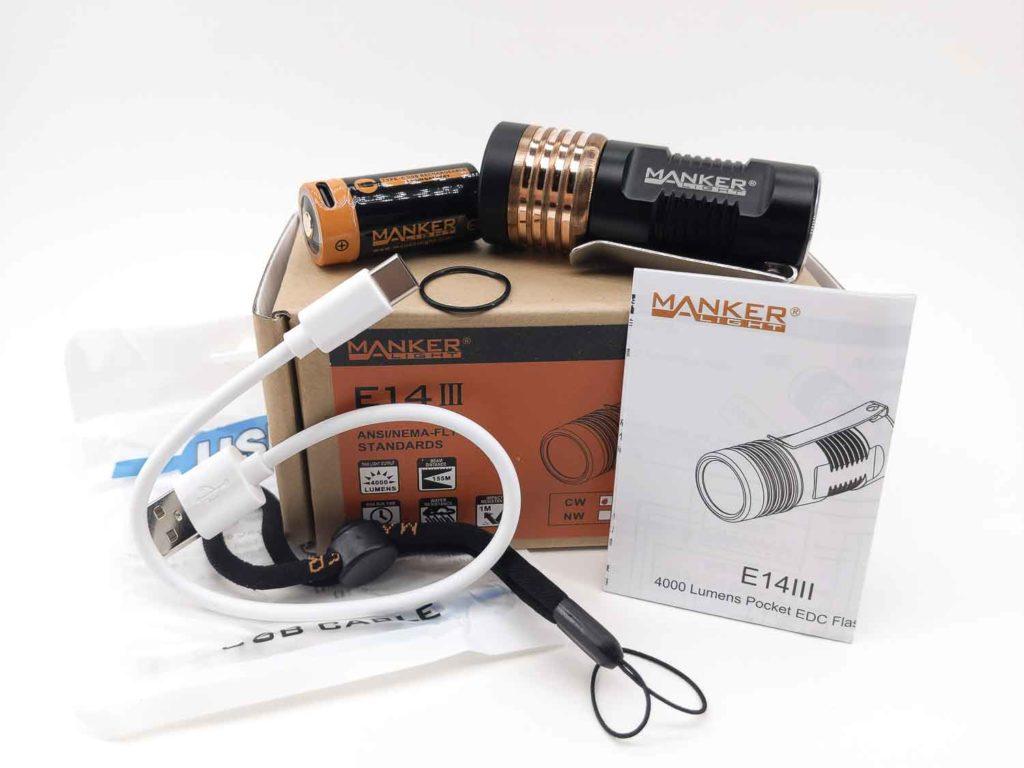 18350 Manker E14 III 4000 Lumens Mini EDC Pocket LED Flashlight USB CHARGE