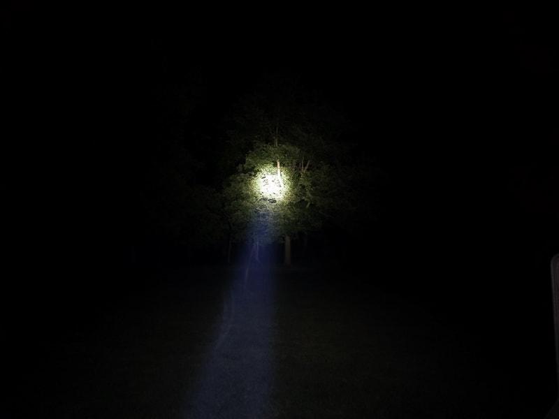 flashlight beam outdoors