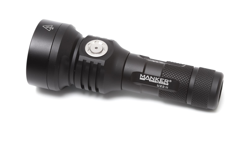 Manker flashlight on white background
