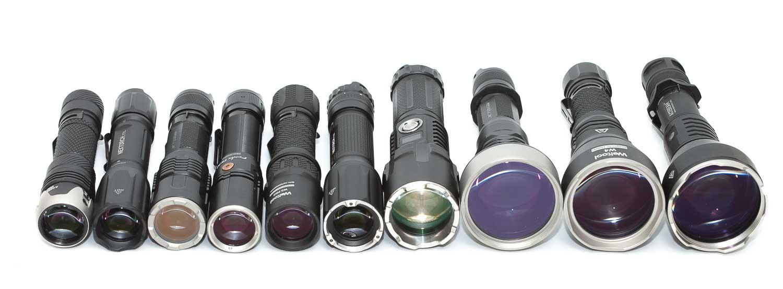 10 LEP flashlights on a row