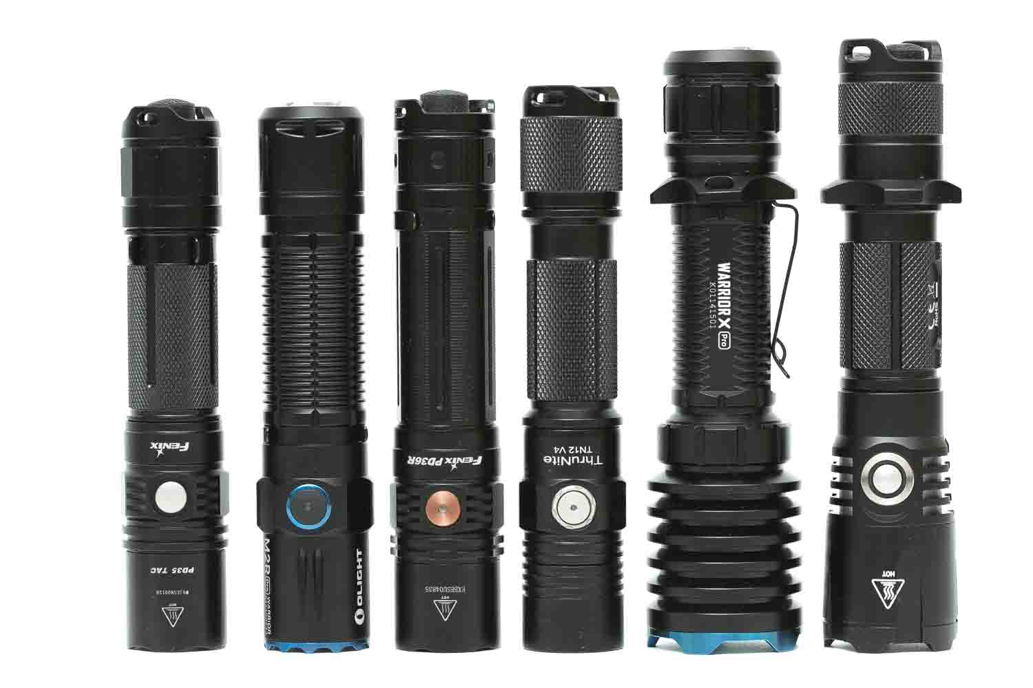 olight m2r pro warrior next to other tactical flashlights