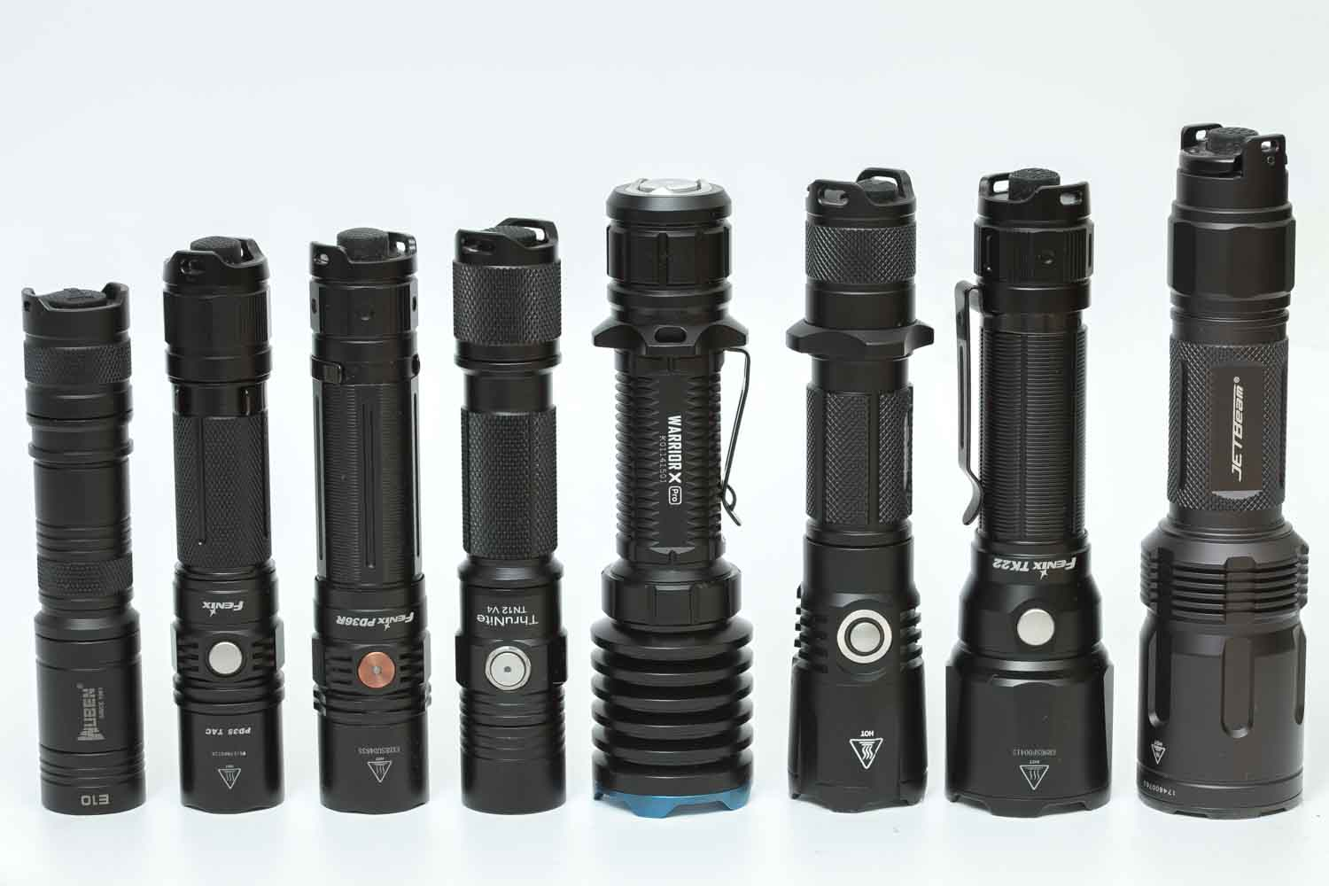 popular tactical flashlights on a row