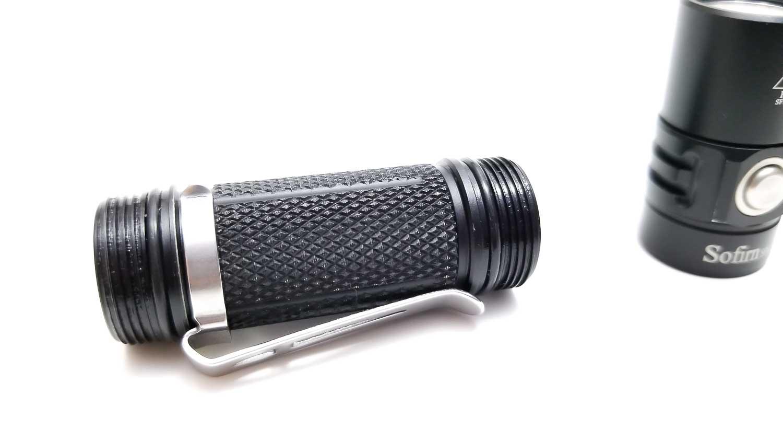 knurling on flashlight and pocket clip