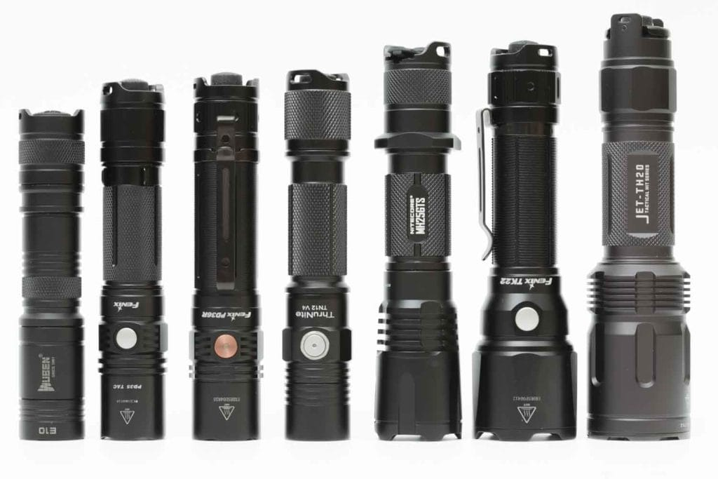 popular tactical flashlight on a row