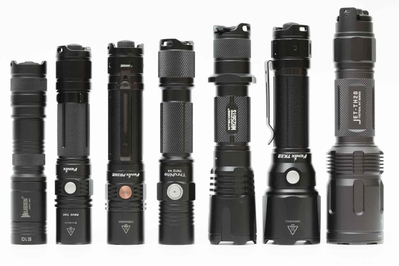 popular tactical flashlight on a row
