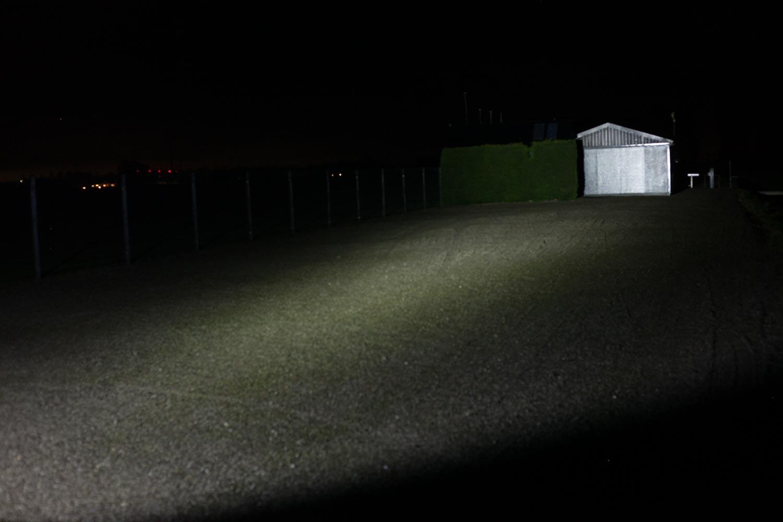 beamshot at night with shed