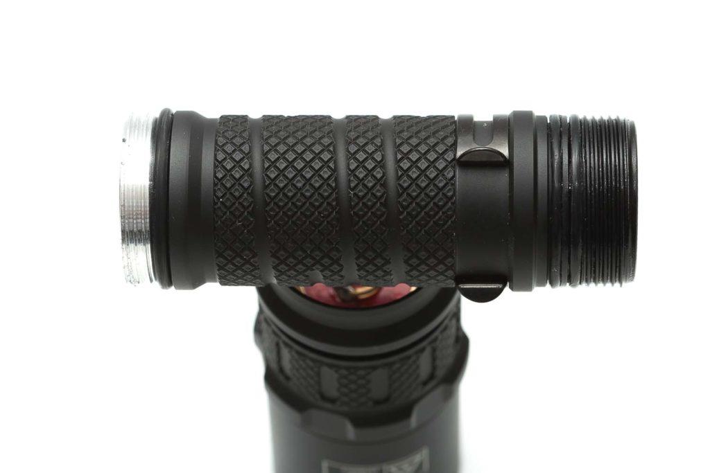 close up of flashlight knurling