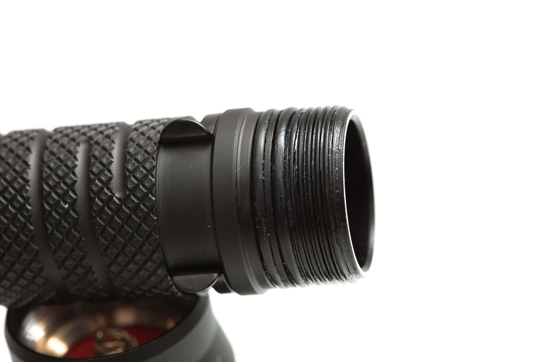 CLose up of flashlight threads